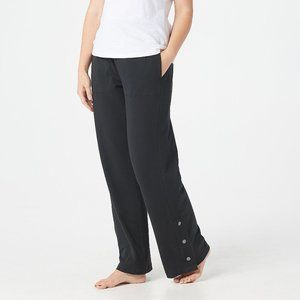 AnyBody French Terry Snap Pants Black Wide Leg